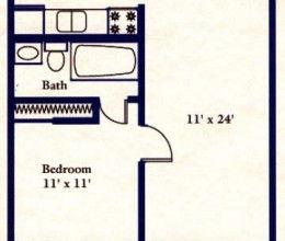 1 bed / 1 bath / 650 sq. ft.