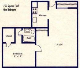 1 bed / 1 bath / 750 sq. ft.